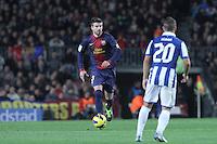 06.01.2013 Barcelona, Spain. La Liga day 18. Gerard Pique in action during game between FC Barcelona against RCD Espanyol at Camp Nou