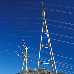 Grand Coulee Dam, WA.Columbia River. Power lines carry electricity from Washington's Grand Coulee Dam. Hydropower.