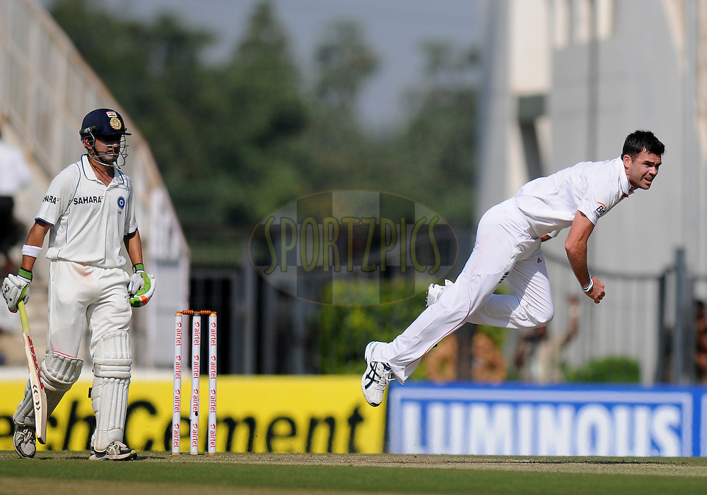 James Anderson of England bowls as Gautam Gambhir of India looks on during day two of the 4th Airtel Test Match between India and England held at VCA ground in Nagpur on the 14th December 2012..Photo by  Pal Pillai/BCCI/SPORTZPICS .