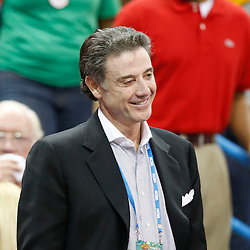 Apr 9, 2013; New Orleans, LA, USA; Louisville Cardinals men's basketball head coach Rick Pitino smiles during halftime of the championship game in the 2013 NCAA womens Final Four against the Connecticut Huskies at the New Orleans Arena. Mandatory Credit: Derick E. Hingle-USA TODAY Sports