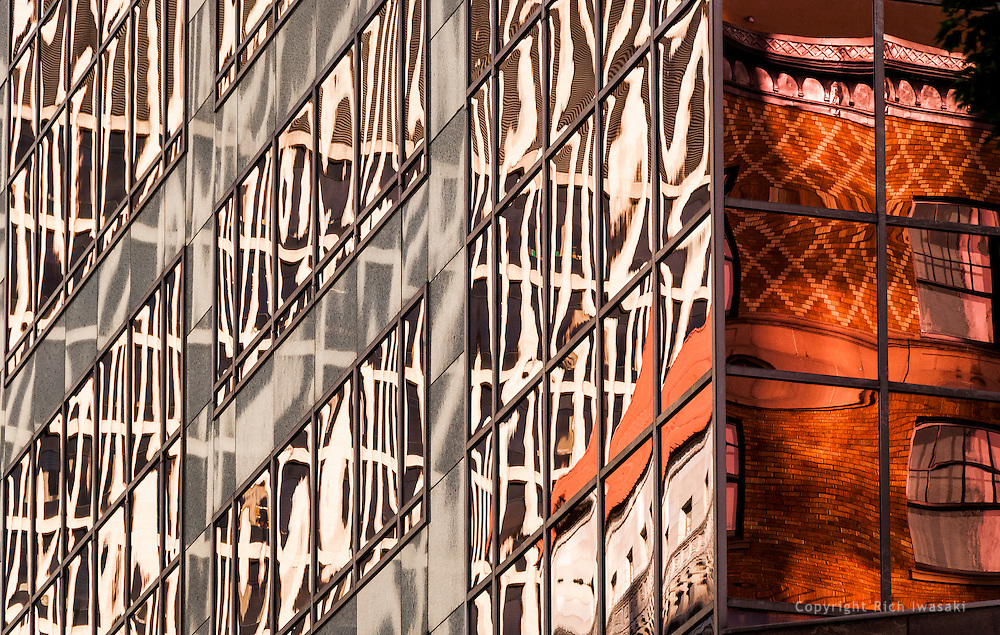 Architectural detail of window reflections in the 1000 Broadway building, Portland, Oregon