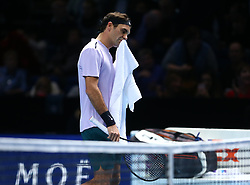 November 16, 2017 - London, United Kingdom - Roger Federer of Switzerland against Marin Cilic of Croatia.during Day five of the Nitto ATP World Tour  Finals played at The O2 Arena, London on November 16 2017  (Credit Image: © Kieran Galvin/NurPhoto via ZUMA Press)