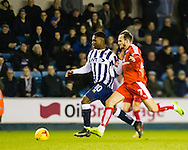 Fred Onyedinma of Millwall and Dan Gardner of Chesterfield during the Sky Bet League 1 match at The Den, London<br /> Picture by Richard Brooks/Focus Images Ltd 07947656233<br /> 21/02/2017