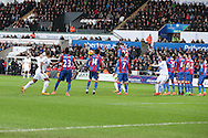 Gylfi Sigurdsson of Swansea city (l) scores his teams 1st goal from a free-kick. Barclays Premier league match, Swansea city v Crystal Palace at the Liberty Stadium in Swansea, South Wales on Saturday 6th February 2016.<br /> pic by Andrew Orchard, Andrew Orchard sports photography.