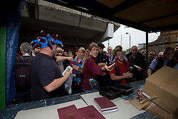 © Licensed to London News Pictures. 10/05/2016. LONDON, UK. <br /> West Ham United Program sellers selling out of the final program to be produced for the clubs last game at the Boleyn Ground against Manchester United. Photo credit: LNP