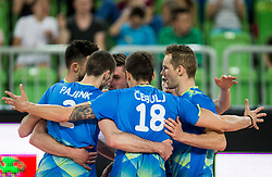 Klemen Cebulj of Slovenia, Tine Urnaut of Slovenia and other players celebrate during volleyball match between National teams of Slovenia and Portugal in 2nd Round of 2018 FIVB Volleyball Men's World Championship qualification, on May 26, 2017 in Arena Stozice, Ljubljana, Slovenia. Photo by Vid Ponikvar / Sportida