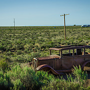 USA, West, Southwest, AZ, Arizone, Petrified Forest, Route 66, <br /> Historic Old Route 66 once passed through Petrified Forest National Park, AZ.