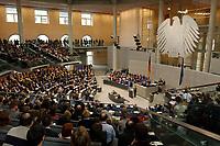 """14 MAR 2003, BERLIN/GERMANY:<br /> Uebersicht Plenum des Deutschen Bundestages mit Bundesadler, waehrend der Regierungserklaerung von Gerhard Schroeder, SPD, Bundeskanzler unter dem Titel """"Mut zum Frieden - Mut zur Veraenderung""""<br /> IMAGE: 20030314-01-060<br /> KEYWORDS: Gerhard Schröder, Reformrede, Übersicht Agenda 2010"""