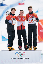 PYEONGCHANG-GUN, SOUTH KOREA - FEBRUARY 24: Nevin Galmarini of Switzerland takes 1st place, Sangho Lee of Korea takes 2nd places, Zan Kosir of Slovenia takes 3rd place during the Snowboarding Men's and Women's Parallel Giant Slalom Finals at Pheonix Snow Park on February 24, 2018 in Pyeongchang-gun, South Korea. Photo by Ronald Hoogendoorn / Sportida