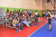 Deborah Moessner, president of Anthem Blue Cross and Blue Shield Foundation, speaks at the BGCA Triple Play Mobile Tour at the Parkland Boys & Girls Club on Tuesday, July 28, 2015 in Louisville, Ky. (Brian Bohannon/AP Images for Boys & Girls Clubs of America)
