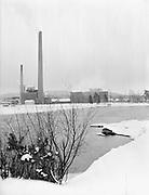 Paper mill Mantta, Finland in winter snow 1950s