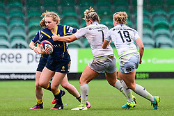 Maise Mackenzie of Worcester Valkyries is tackled by Marlie Packer of Saracens Ladies  - Mandatory by-line: Craig Thomas/JMP - 30/09/2017 - RUGBY - Sixways Stadium - Worcester, England - Worcester Valkyries v Saracens Women - Tyrrells Premier 15s