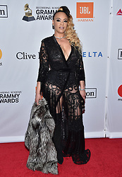 Faith Evans attends the Clive Davis and Recording Academy Pre-GRAMMY Gala and GRAMMY Salute to Industry Icons Honoring Jay-Z on January 27, 2018 in New York City.. Photo by Lionel Hahn/ABACAPRESS.COM