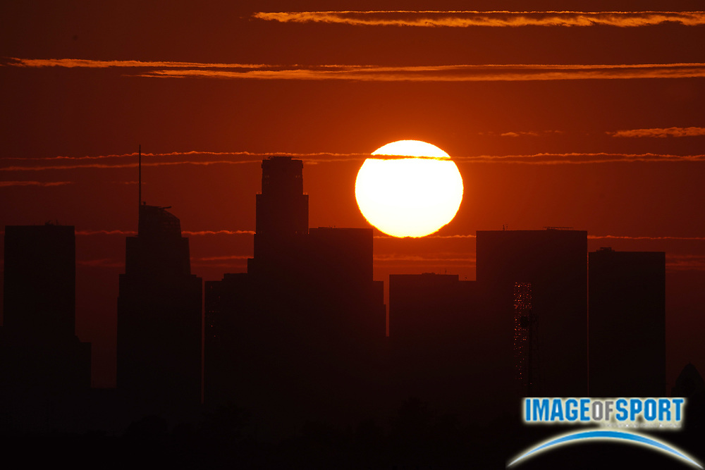 Sunset over downtown Los Angeles skyline in skies darkened by California wildfires, Friday, Sept. 18, 2020.