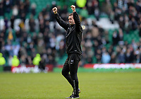 01/03/15 SCOTTISH PREMIERSHIP<br /> CELTIC v ABERDEEN<br /> CELTIC PARK - GLASGOW<br /> Celtic manager Ronny Deila celebrates with the home support at full-time after a great result