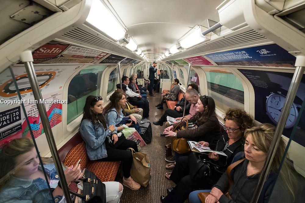 Interior of carriage on Glasgow Underground system in Scotland, united Kingdom