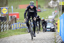 March 30, 2018 - Oudenaarde, Belgique - OUDENAARDE, BELGIUM - MARCH 30 : KNEES Christian (GER)  of Team SKY on the Paterberg climb during a training session prior to the Flanders Classics UCI WorldTour 102nd Ronde van Vlaanderen cycling race with start in Antwerpen and finish in Oudenaarde on March 30, 2018 in Oudenaarde, Belgium, 30/03/2018 (Credit Image: © Panoramic via ZUMA Press)