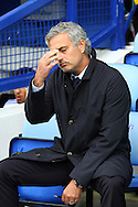 Chelsea First Team Manager Jose Mourinho looks on deep in thought in the dugout. Barclays Premier League match, Everton v Chelsea at Goodison Park in Liverpool on Saturday 12th September 2015.<br /> pic by Chris Stading, Andrew Orchard sports photography.