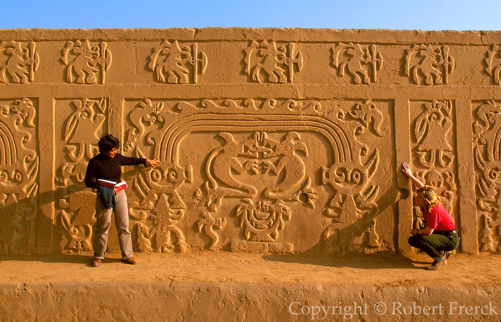 PERU, PREHISPANIC, CHIMU Chan Chan; Rainbow Temple relief