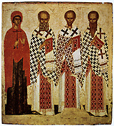Saints Panaseeve, Gregory the theologian and Saint John Chrysostom with Saint Basil the Great. 14th-15th century Russian Icon.