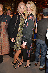 Left to right, AMBER LE BON and TAMSIN EGERTON at the opening of the exhibition 'My Mother Was A Reeler' at Etro, 43 Old Bond Street, London on 5th October 2016.