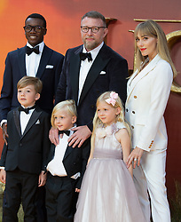Guy Ritchie, Jacqui Ainsley, David Banda, Rafael Ritchie, Rivka Ritchie and Levi Ritchie attend The Lion King premiere in London.<br />