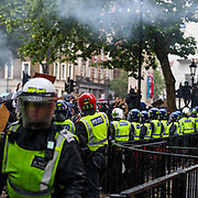 Police clashed with protesters after thousands of people flooded into central London for a Black Lives Matter demonstration in response to the death of George Floyd. Activists chanted 'black lives matter' and 'we will not be silent' in Parliament Square in a peaceful demonstration before tensions escalated later outside Downing Street on Saturday, June 6, 2020. (Photo/ Vudi Xhymshiti)