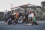 While eating at the World Family Cafe in Finisterre, I asked if there was anyone inside willing to be quickly photographed outside. Almost the whole cafe emptied out across the street for this group picture. (July 22, 2018)<br />