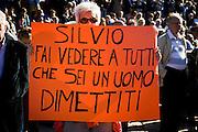 """Demonstration by """"Libertà e Giustizia"""" against the Berlusconi government."""