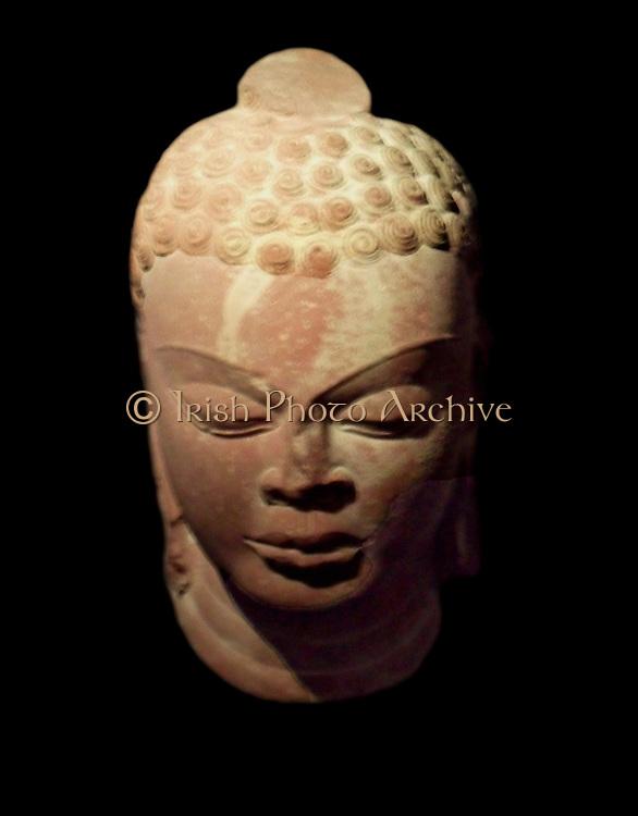 Head of Buddha. Gupta dynasty (320-600 A.D). Sandstone carving from northern India, Mathura (city) Uttar Pradesh