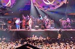 1/4 wide crop of the stage only from the full frame 95gdc17-02 Negative. Cropping demonstrates the high resolution of the full 120 format film using the Hasselblad camera for capture. This is a very small portion of the original full image seen also in this gallery. The Grateful Dead Live at Soldiers Field Chicago IL on 9 July 1995. Stage and Set Design photography for Candace Brightman and Grateful Dead Productions