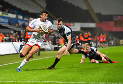 Robert Baloucoune of Ulster Rugby runs in a try for ulster Guinness PRO14, Liberty Stadium, Swansea, UK 15/02/2020<br /> Ospreys vs Ulster Rugby<br /> <br /> Mandatory Credit ©INPHO/Alex James