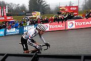 Belgium, Sunday 13th December 2015: Race leader Helen Wyman powers up the steep Raidillon corner towards the finish line and victory at the Hansgrohe Superprestige cyclocross races at Spa Francorchamps.<br /> <br /> Copyright 2015 Peter Horrell