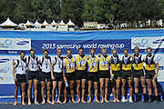 Sydney, Australia.  GBR LM4- Silver Medalist, Bow, Pete CHAMBERS, Jonathan CLEGG, Chris BODDY and Chris BARTLEY. World Cup I. and  Sydney International Rowing Regatta. Sydney International Rowing Centre, Penrith Lakes, NSW. Sunday   24/03/2013 [Mandatory Credit. Peter Spurrier/Intersport Images]..