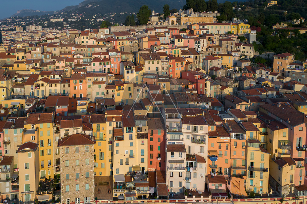 Aerial view of colourful houses in Menton, Cote d'Azur, France.