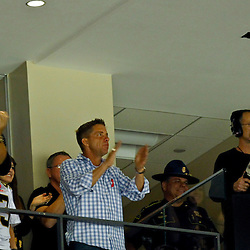 October 7, 2012; New Orleans, LA, USA; Suspended New Orleans Saints head coach Sean Payton cheers from a suite after a turnover secured a win by the Saints during the fourth quarter of a game at the Mercedes-Benz Superdome. The Saints defeated the Chargers 31-24. Mandatory Credit: Derick E. Hingle-US PRESSWIRE