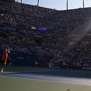 Roger Federer, Switzerland, in action against Novak Djokovic, Serbia, during  the US Open Tennis Tournament at Flushing Meadows, New York, USA, on Sunday, September 13, 2009. Photo Tim Clayton.