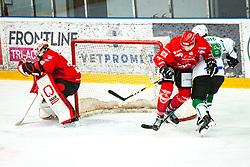 Nejc Stojan vs MUSIC Ales during Alps League Ice Hockey match between HDD SIJ Jesenice and HK SZ Olimpija on January 2, 2021 in Ice Arena Podmezakla, Jesenice, Slovenia. Photo by Peter Podobnik / Sportida