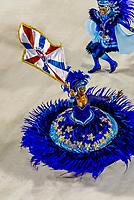 Flag bearer (porta bandeira) and mestre-sala  (man) in the Carnaval parade of GRES Academicos de Vigario Geral samba school, Sambadrome, Rio de Janeiro, Brazil.