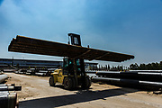 Pipe manufacturing plant. Large diameter Metal pipes factory