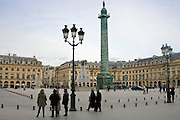 Staue of Napoleon, La Colonne Vendome, in Place Vendome, Central Paris, France