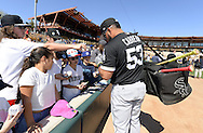 GLENDALE, ARIZONA - FEBRUARY 25:  Melky Cabrera #53 of the Chicago White Sox signs autographs prior to the spring training game against the Los Angeles Dodgers on February 25, 2017 at Camelback Ranch in Glendale Arizona.  (Photo by Ron Vesely).  Object:  Melky Cabrera