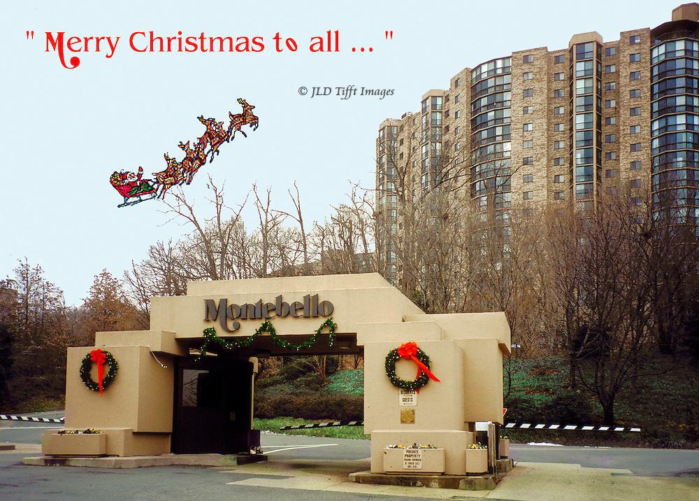Santa sleigh and reindeer flying over the Montebello Condominium, Alexandria, VA.
