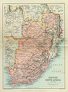 Map of British South Africa From the Book '  Britain across the seas : Africa : a history and description of the British Empire in Africa ' by Johnston, Harry Hamilton, Sir, 1858-1927 Published in 1910 in London by National Society's Depository