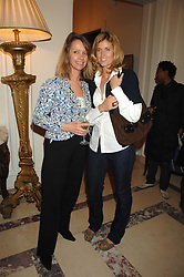 Left to right, SABRINA GUINNESS and ARABELLA MACMILLAN, she was designer Arabella Pollen at a party to celebrate the publication of The End of Sleep by Rowan Somerville held at the Egyptian Embassy, London on 27th March 2008.<br />