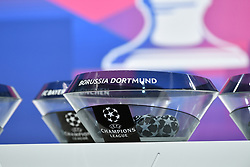 NYON, SWITZERLAND - Monday, December 14, 2020: The draw pot for Borussia Dortmund during the UEFA Champions League 2020/21 Round of 16 draw at the UEFA Headquarters, the House of European Football. (Photo Handout/UEFA)