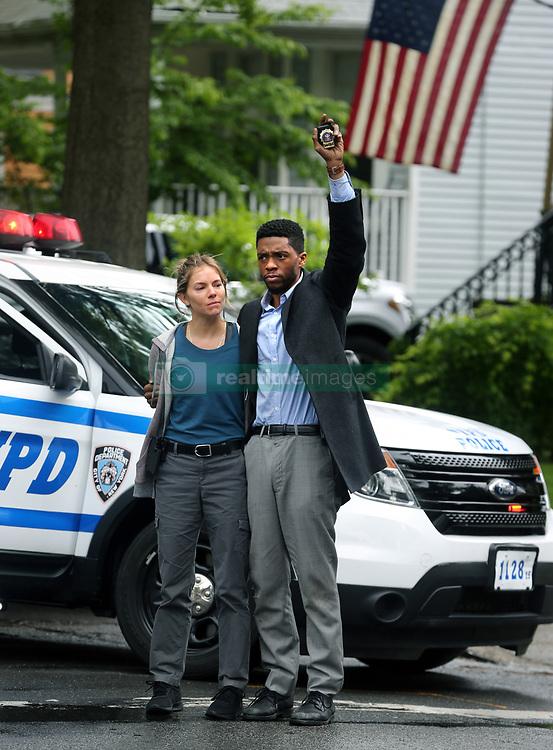 "Chadwick Boseman, Sienna Miller filming ""21 Bridges"" in Nyc. 14 May 2019 Pictured: Chadwick Boseman, Sienna Miller. Photo credit: SteveSands/NewYorkNewswire/MEGA TheMegaAgency.com +1 888 505 6342"