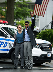 "Chadwick Boseman, Sienna Miller filming ""21 Bridges"" in Nyc - 14 May 2019"