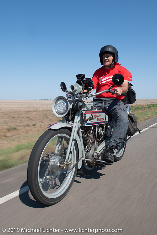 Dave Currier rode his 1915 Harley-Davidson model F with Milwaukee Tools behind him as a sponsor, in the Motorcycle Cannonball coast to coast vintage run. Stage 8 (314 miles) from Spirit Lake, IA to Pierre, SD. Saturday September 15, 2018. Photography ©2018 Michael Lichter.