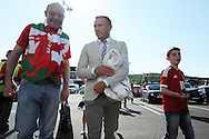 Ex Wales international footballer Craig Bellamy arrives for the match chatting to fans outside the stadium. Euro 2016 qualifying match, Wales v Israel at the Cardiff city stadium in Cardiff, South Wales on Sunday 6th Sept 2015.  pic by Andrew Orchard, Andrew Orchard sports photography.